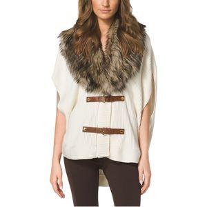 Michael Kors Fur-Trimmed Knit Poncho